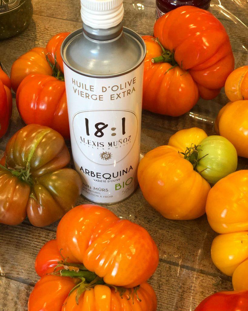Huile d'olive bio Arbequina Alexis Muñoz et tomate